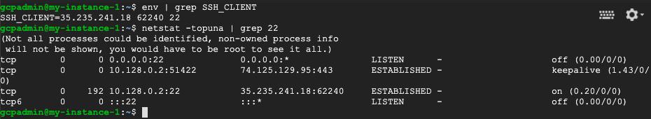 SSH client IP address