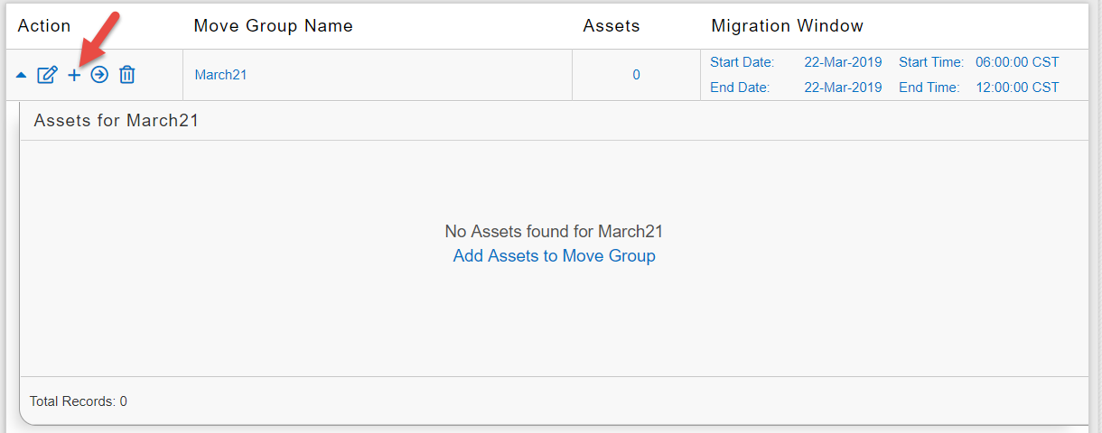 The plus icon adds workloads to a move group