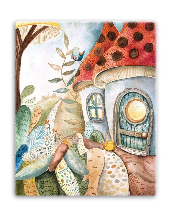 Mushroom home canvas print