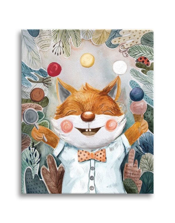 Little fox juggling with ice cream scoops