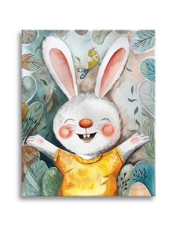 Little rabbit ready for a hug canvas print
