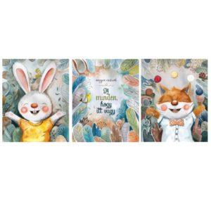 3 parts canvas set wit adorable animal illustrations