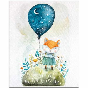 Little fox carrying the night print