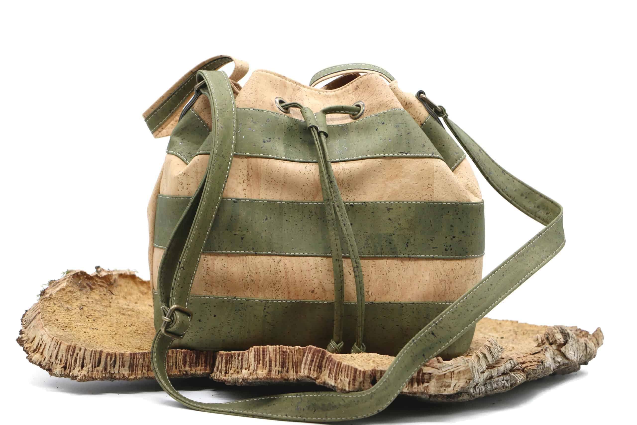 gestreifte Kork Handtasche