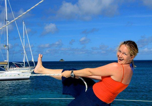 einer meiner ersten Jobs auf einem Segelkatamaran in Bequia and the Grenadines