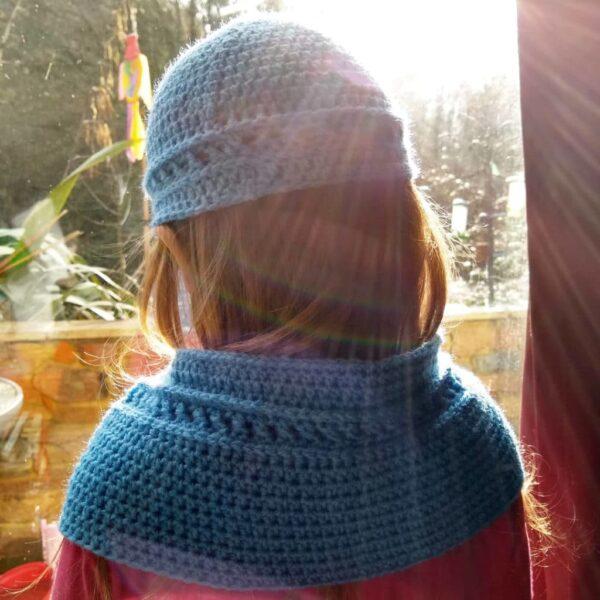 Crochet Toddler Blue Cowl & Hat Set - product image 3