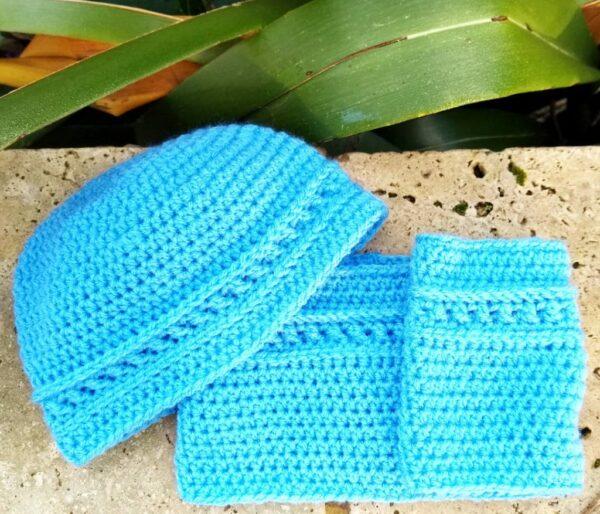 Crochet Toddler Blue Cowl & Hat Set - main product image