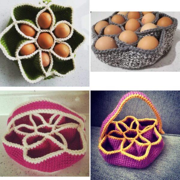 Bakers Dozen Egg Basket, Crochet Egg Holder, Kitchen Storage, Home Decor, Housewarming Gift - main product image