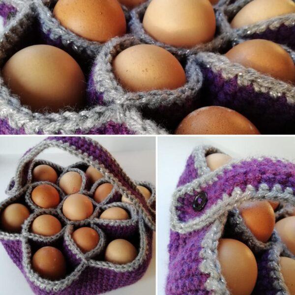 Bakers Dozen Egg Basket, Crochet Egg Holder, Kitchen Storage, Home Decor, Housewarming Gift - product image 5