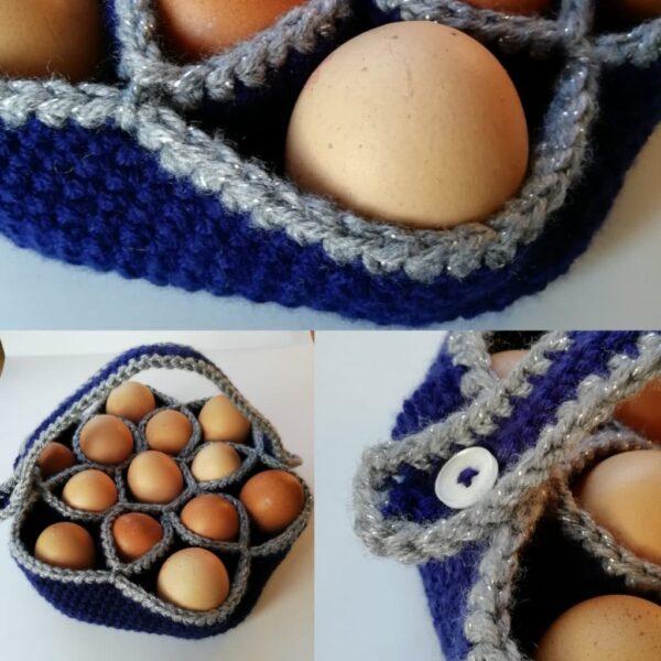 Bakers Dozen Egg Basket, Crochet Egg Holder, Kitchen Storage, Home Decor, Housewarming Gift - product image 4