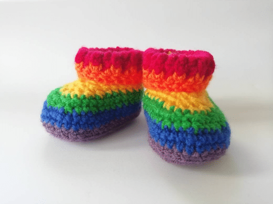 Newborn 0-3 month baby boots, booties, pram shoes, rainbow boots - main product image