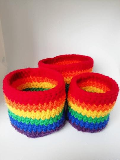 Trio nesting rainbow bowls, crochet storage pots, bright colours home decor, nursery decoration - main product image