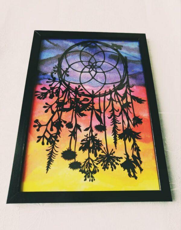 Beautiful wild flowers dreamcatcher papercut on sunset background - main product image