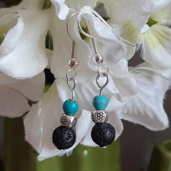 Beautiful pair of lava stone and turquoise silver earrings - main product image