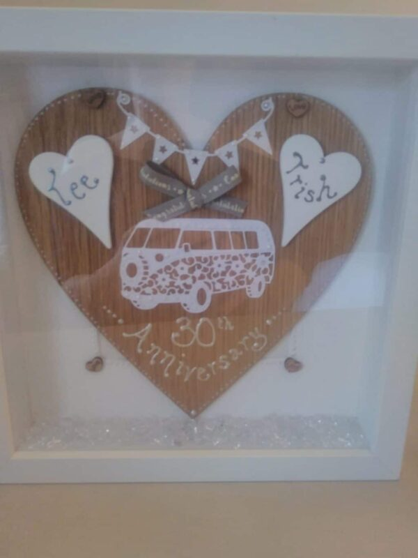 Personalised frame with campervan on an oak heart - main product image