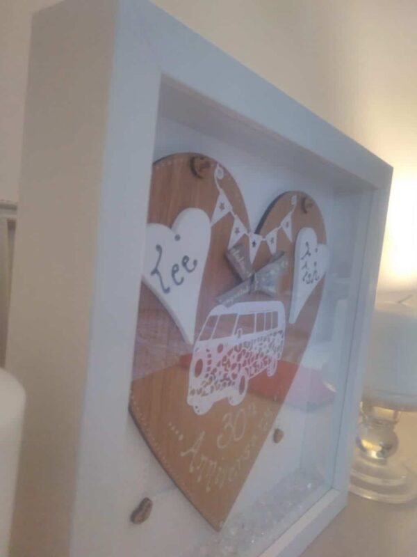Personalised frame with campervan on an oak heart - product image 3