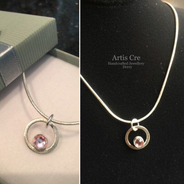"""Handcrafted Sterling Silver Tourmaline pink Swarovski Crystal Birthstone Pendant 18"""" - main product image"""