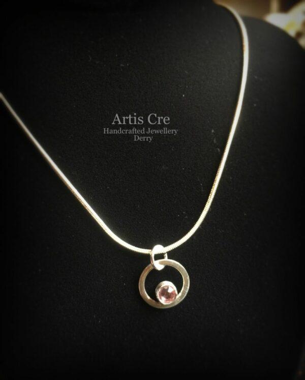 "Handcrafted Sterling Silver Tourmaline pink Swarovski Crystal Birthstone Pendant 18"" - product image 5"