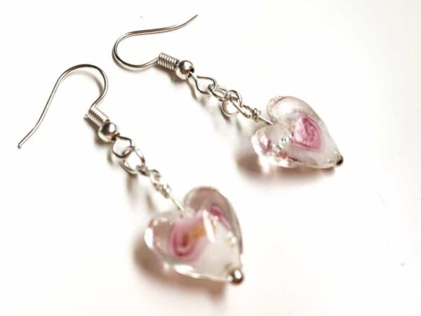 Clear Glass Floral Heart Earrings - product image 2