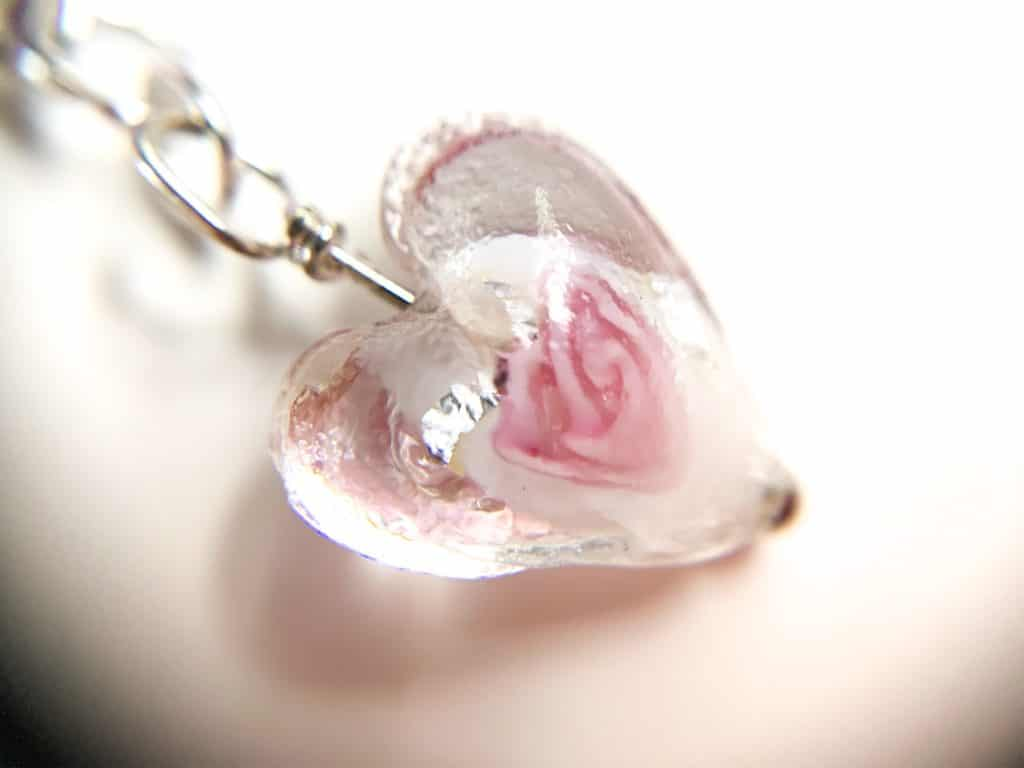 Clear Glass Floral Heart Earrings - product image 3