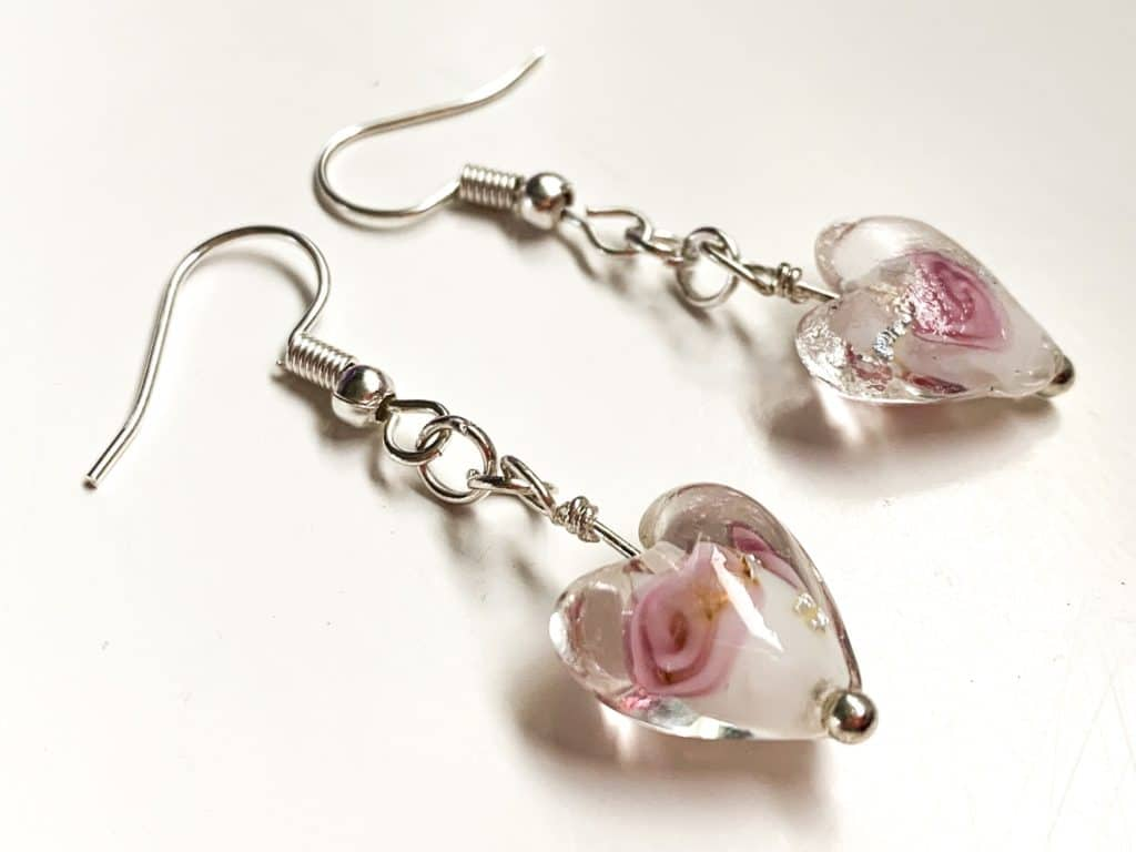 Clear Glass Floral Heart Earrings - main product image