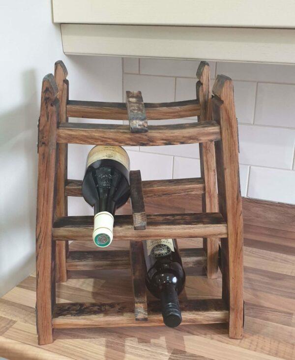 Tabletop oak whisky barrel stave wine rack - main product image