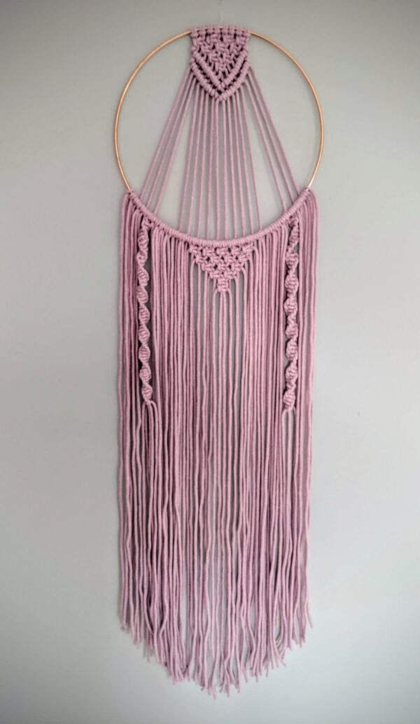 Macrame Dreamcatcher Dusky Pink Grey Boho Wall Hanging - product image 3