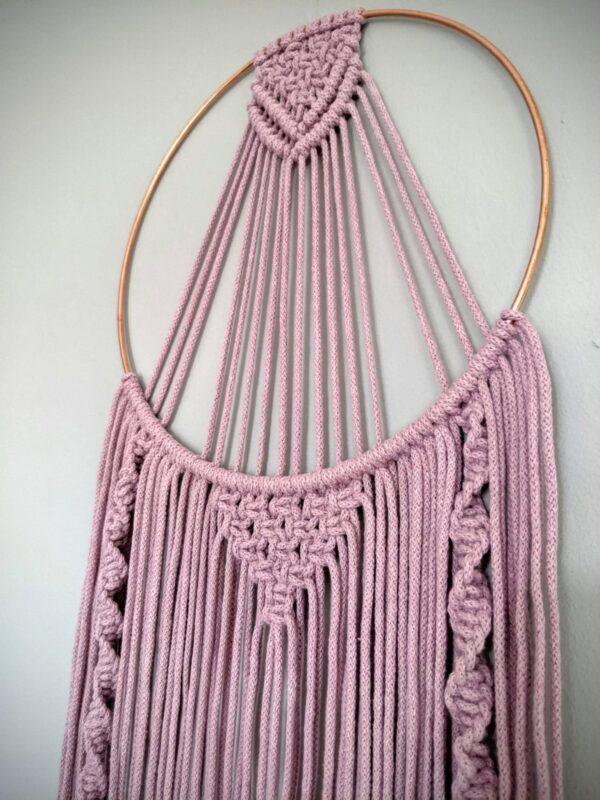 Macrame Dreamcatcher Dusky Pink Grey Boho Wall Hanging - product image 2