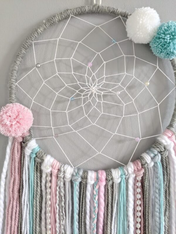 Frozen Dreamcatcher Personalised Pink Grey Blue Boho Wall Hanging - product image 2