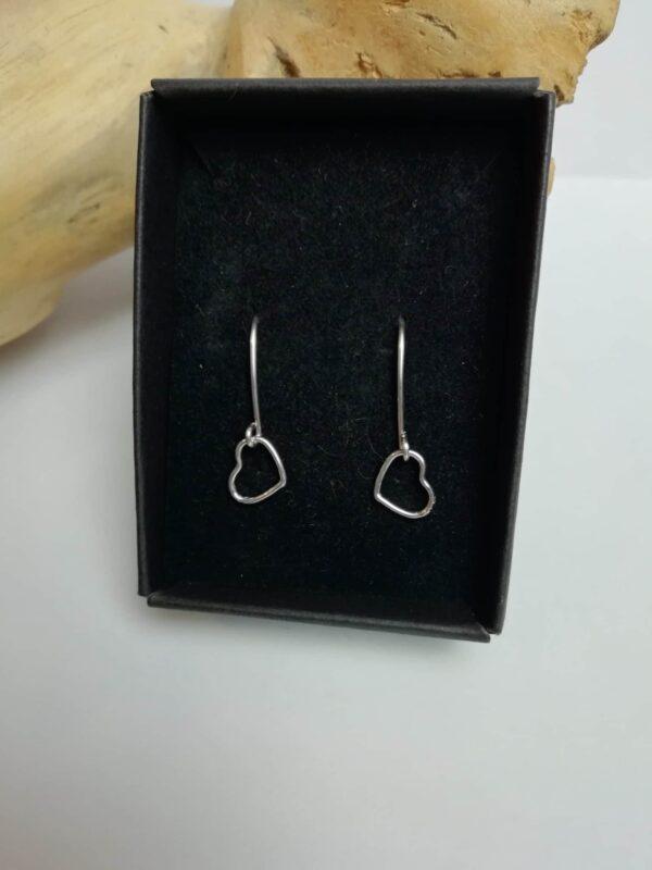 Dainty sterling silver love heart drop earrings - main product image
