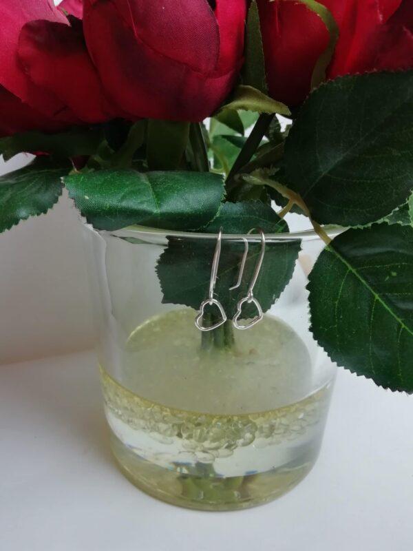 Dainty sterling silver love heart drop earrings - product image 4