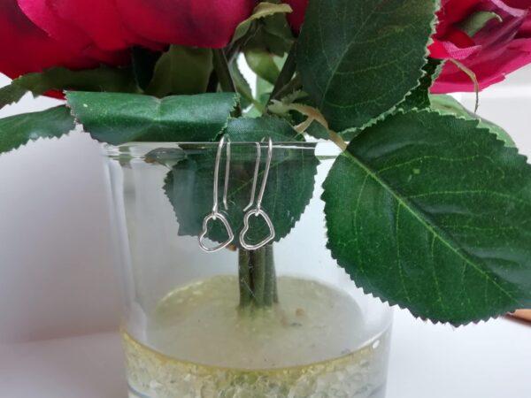 Dainty sterling silver love heart drop earrings - product image 3