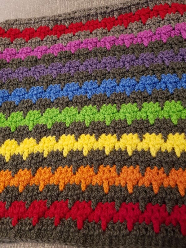 Crocheted handmade rainbow blanket - main product image