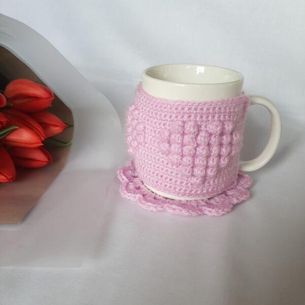 Heart patterned mug cosy - product image 3
