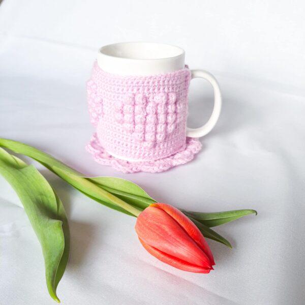 Heart patterned mug cosy - main product image