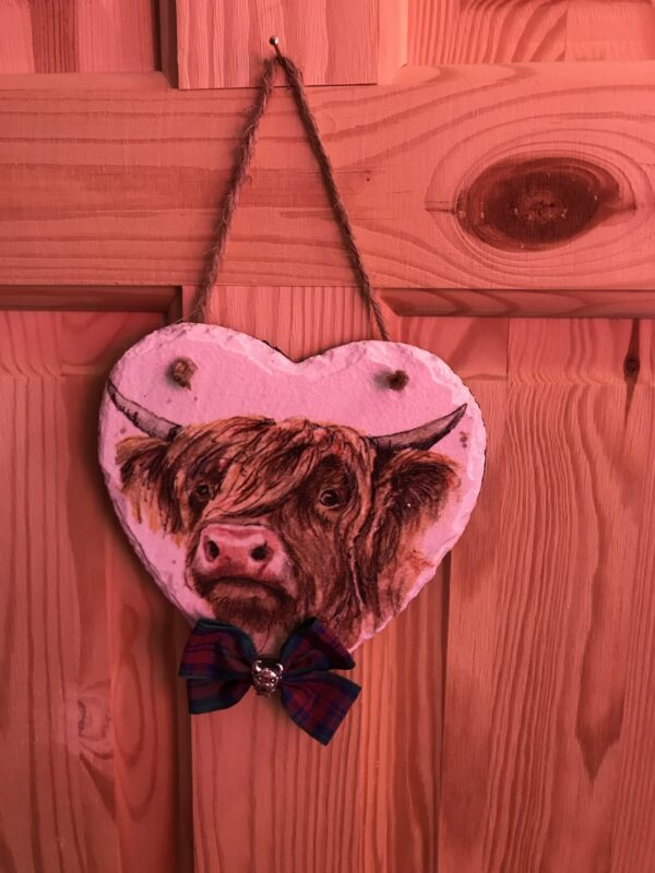 15cm Slate Heart with Highland Cow detail - product image 2