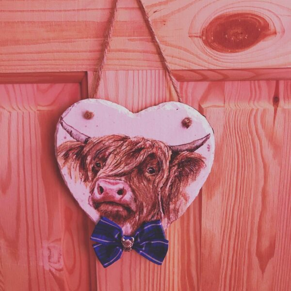 15cm Slate Heart with Highland Cow detail - main product image