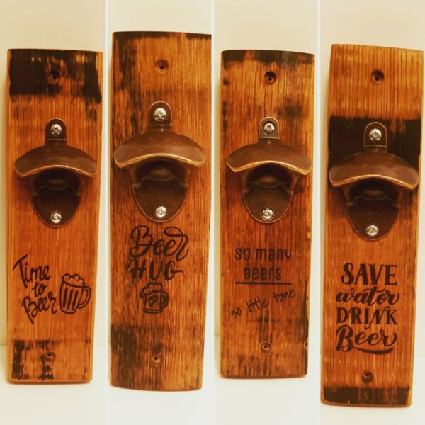 Whisky barrel stave bottle opener with beer related quote - main product image