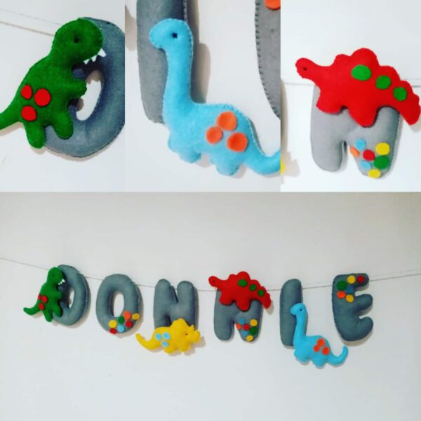 Felt Name Letters Nursery Room Decoration Garland Banner Dinosaur - main product image