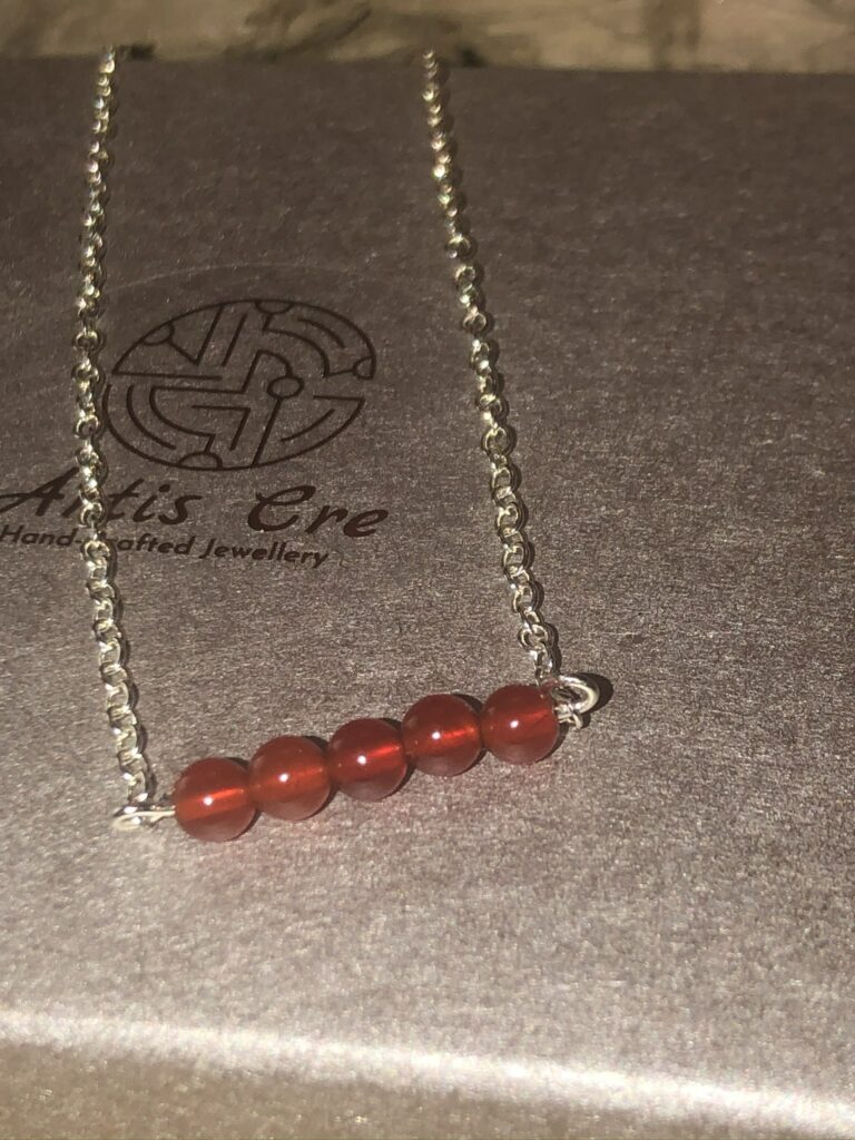 """Red natural Carnelian gemstone 5 stone bar necklace sterling 17"""" - product image 3"""