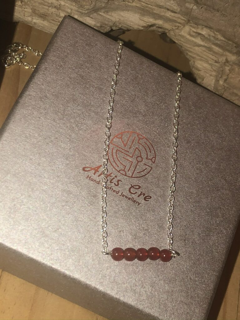 """Red natural Carnelian gemstone 5 stone bar necklace sterling 17"""" - product image 4"""