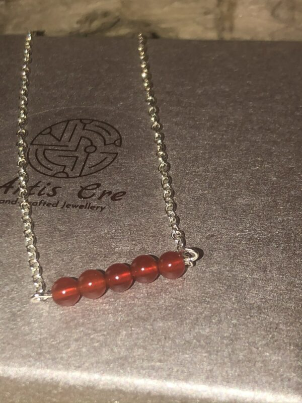 """Red natural Carnelian gemstone 5 stone bar necklace sterling 17"""" - main product image"""
