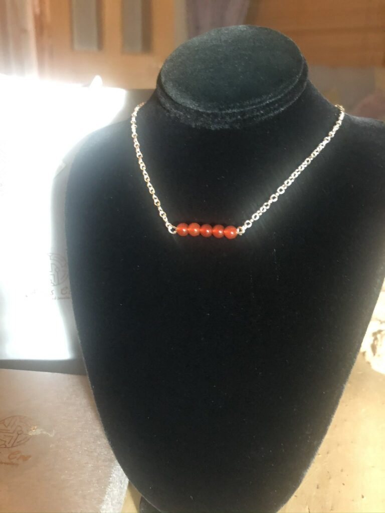 """Red natural Carnelian gemstone 5 stone bar necklace sterling 17"""" - product image 2"""