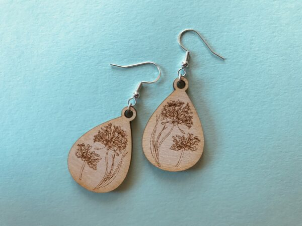 Floral Engraved Earrings | Agapanthus Engraved Plywood Earrings - main product image