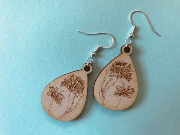 Floral Engraved Earrings | Agapanthus Engraved Plywood Earrings - product image 4
