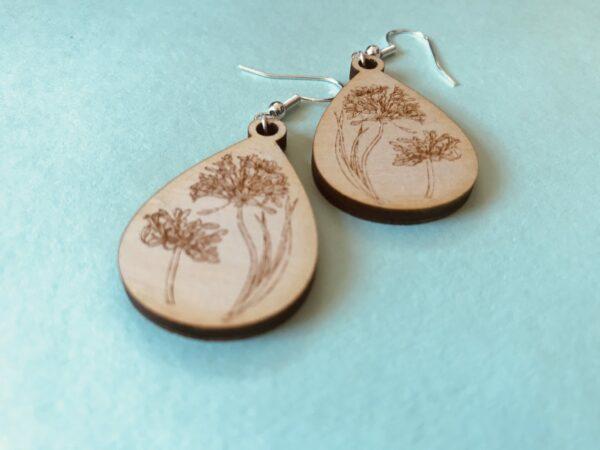 Floral Engraved Earrings | Agapanthus Engraved Plywood Earrings - product image 2