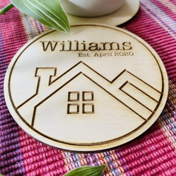 Personalised Plywood Coasters   Housewarming Coaster Gift - product image 3