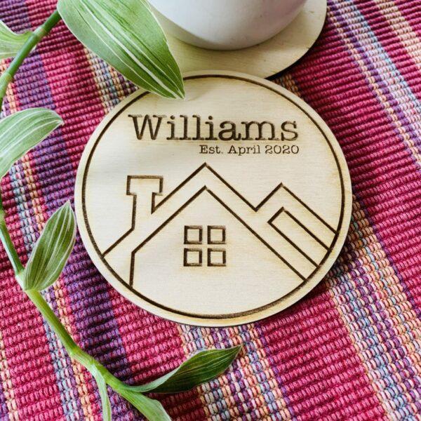 Personalised Plywood Coasters   Housewarming Coaster Gift - product image 4