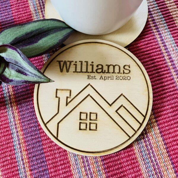 Personalised Plywood Coasters   Housewarming Coaster Gift - main product image