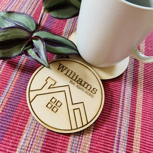 Personalised Plywood Coasters   Housewarming Coaster Gift - product image 2